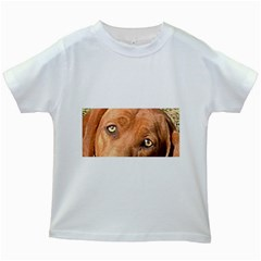Redbone Coonhound Eyes Kids T-shirt (White)