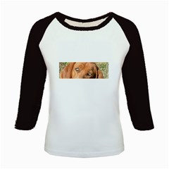 Redbone Coonhound Eyes Kids Long Cap Sleeve T-Shirt