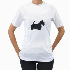 Scottish Terrier Dk Grey Silhouette Women s Two-sided T-shirt (White)