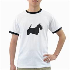 Scottish Terrier Dk Grey Silhouette Men s Ringer T-shirt
