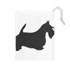 Scottish Terrier Dk Grey Silhouette Drawstring Pouch (Large)
