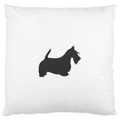 Scottish Terrier Dk Grey Silhouette Large Flano Cushion Case (One Side)