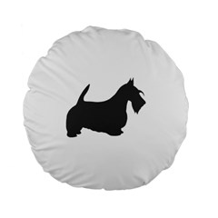 Scottish Terrier Dk Grey Silhouette Standard 15  Premium Flano Round Cushion