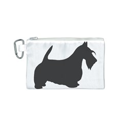 Scottish Terrier Dk Grey Silhouette Canvas Cosmetic Bag (Small)