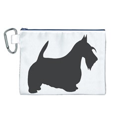 Scottish Terrier Dk Grey Silhouette Canvas Cosmetic Bag (Large)