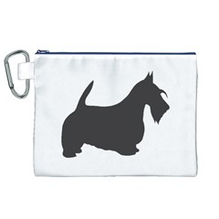 Scottish Terrier Dk Grey Silhouette Canvas Cosmetic Bag (XL)