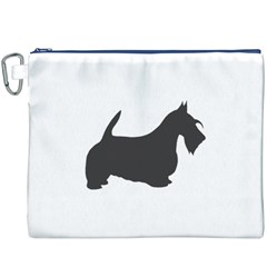 Scottish Terrier Dk Grey Silhouette Canvas Cosmetic Bag (XXXL)