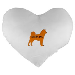 Shiba Inu Name Silo Color Large 19  Premium Flano Heart Shape Cushion