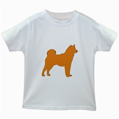 Shiba Inu Silo Color Kids T-shirt (White)
