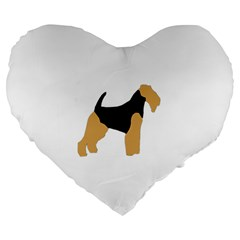 Welsh Terrier Silo Color Large 19  Premium Flano Heart Shape Cushion