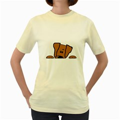 Peeping Vizsla Women s T-shirt (Yellow)