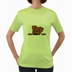 Peeping Vizsla Women s T-shirt (Green)