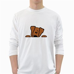Peeping Vizsla Men s Long Sleeve T-shirt (White)