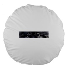 Keeshond Eyes Large 18  Premium Flano Round Cushion