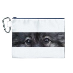 Keeshond Eyes Canvas Cosmetic Bag (Large)