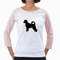 Portugese Water Dog Silhouette Women s Long Cap Sleeve T-Shirt (White)