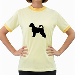 Portugese Water Dog Silhouette Women s Ringer T-shirt (Colored)
