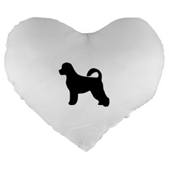 Portugese Water Dog Silhouette Large 19  Premium Flano Heart Shape Cushion