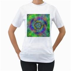 Hypnotic Star Burst Fractal Women s Two-sided T-shirt (White)