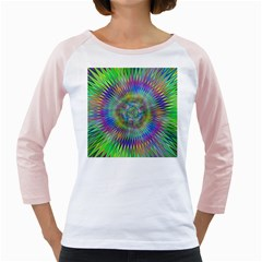 Hypnotic Star Burst Fractal Women s Long Cap Sleeve T-Shirt (White)