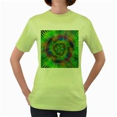 Hypnotic Star Burst Fractal Women s T-shirt (Green)