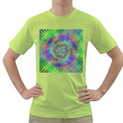 Hypnotic Star Burst Fractal Men s T-shirt (Green)