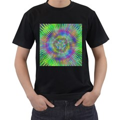 Hypnotic Star Burst Fractal Men s Two Sided T-shirt (Black)