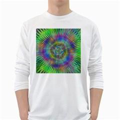 Hypnotic Star Burst Fractal Men s Long Sleeve T-shirt (White)