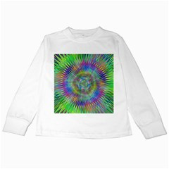Hypnotic Star Burst Fractal Kids Long Sleeve T-Shirt