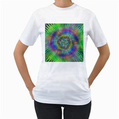 Hypnotic Star Burst Fractal Women s T Shirt (white)