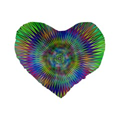 Hypnotic Star Burst Fractal Standard 16  Premium Flano Heart Shape Cushion