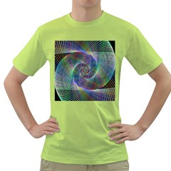 Psychedelic Spiral Men s T-shirt (Green)