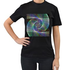 Psychedelic Spiral Women s Two Sided T-shirt (Black)
