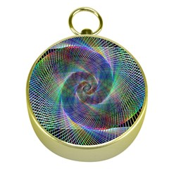 Psychedelic Spiral Gold Compass