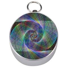 Psychedelic Spiral Silver Compass