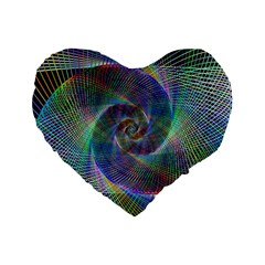 Psychedelic Spiral Standard 16  Premium Flano Heart Shape Cushion