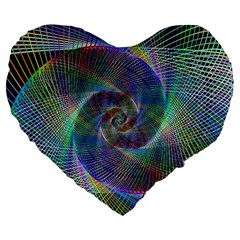 Psychedelic Spiral Large 19  Premium Flano Heart Shape Cushion