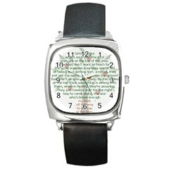 Girls Are Like Apples Square Leather Watch