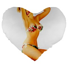 Sexy Bikini Pinup Large 19  Premium Flano Heart Shape Cushion