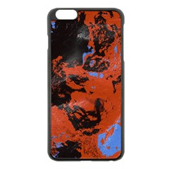 Orange blue black texture Apple iPhone 6 Plus Black Enamel Case