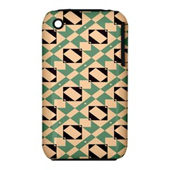 Brown green rectangles pattern Apple iPhone 3G/3GS Hardshell Case (PC+Silicone)