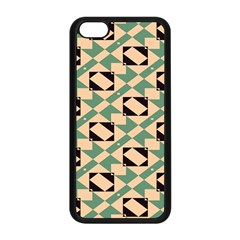 Brown Green Rectangles Pattern Apple Iphone 5c Seamless Case (black)