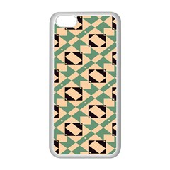 Brown green rectangles pattern Apple iPhone 5C Seamless Case (White)