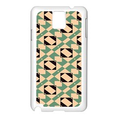 Brown green rectangles pattern Samsung Galaxy Note 3 N9005 Case (White)