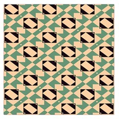 Brown green rectangles pattern Satin Scarf