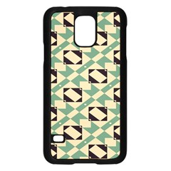 Brown green rectangles pattern 	Samsung Galaxy S5 Case