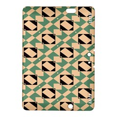 Brown Green Rectangles Pattern 	kindle Fire Hdx 8 9  Hardshell Case