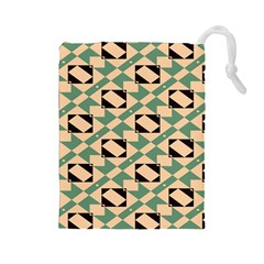 Brown green rectangles pattern Drawstring Pouch