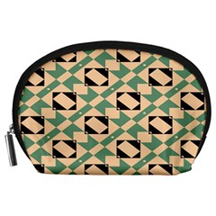 Brown green rectangles pattern Accessory Pouch