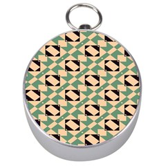 Brown Green Rectangles Pattern Silver Compass